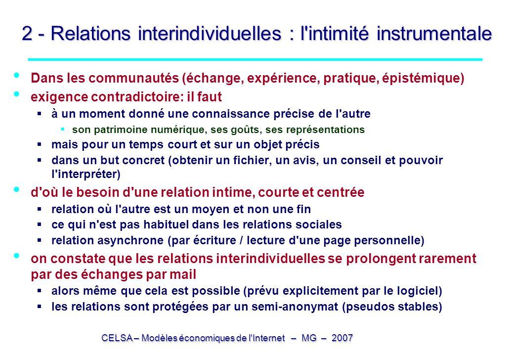 2 - Relations interindividuelles : l intimité instrumentale