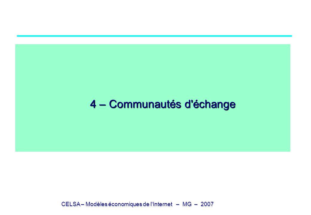 4 – Communautés d échange