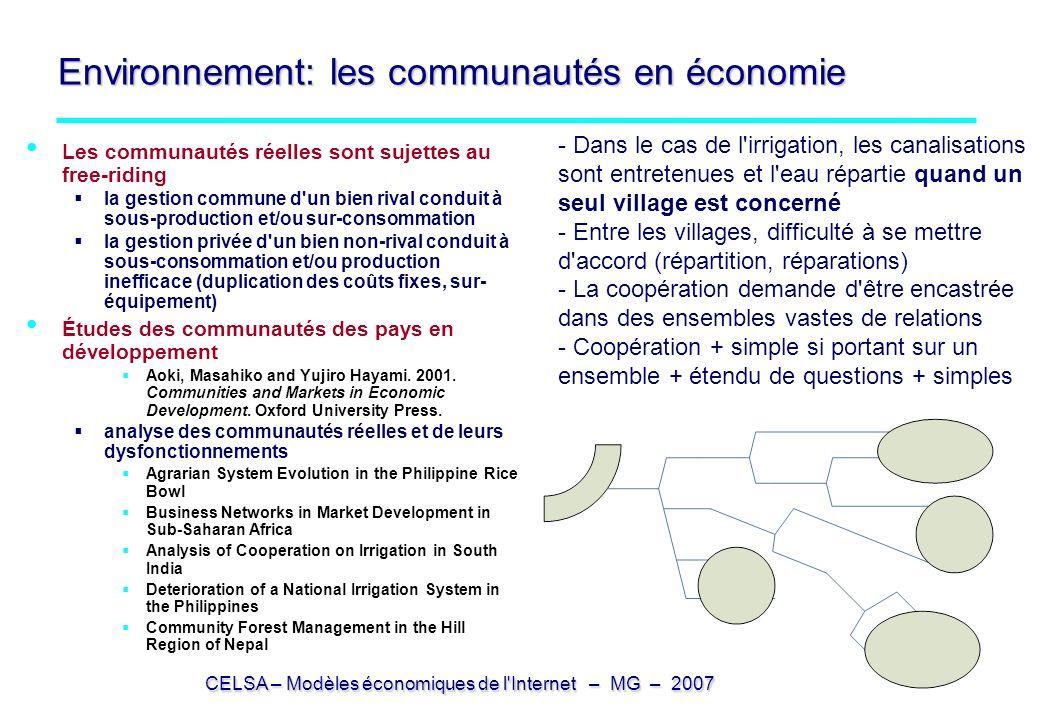 Environnement: les communautés en économie