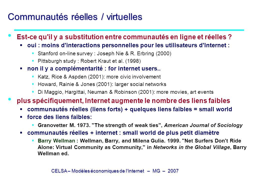 Communautés réelles / virtuelles
