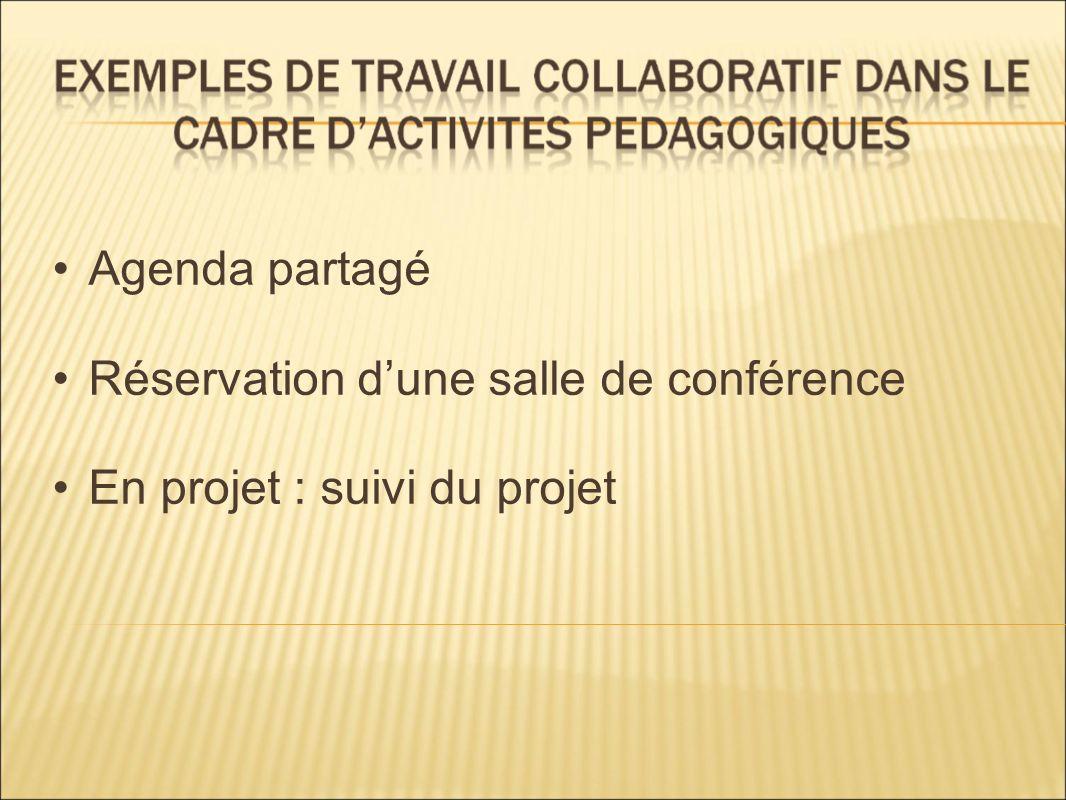 Agenda partagé Réservation d'une salle de conférence En projet : suivi du projet