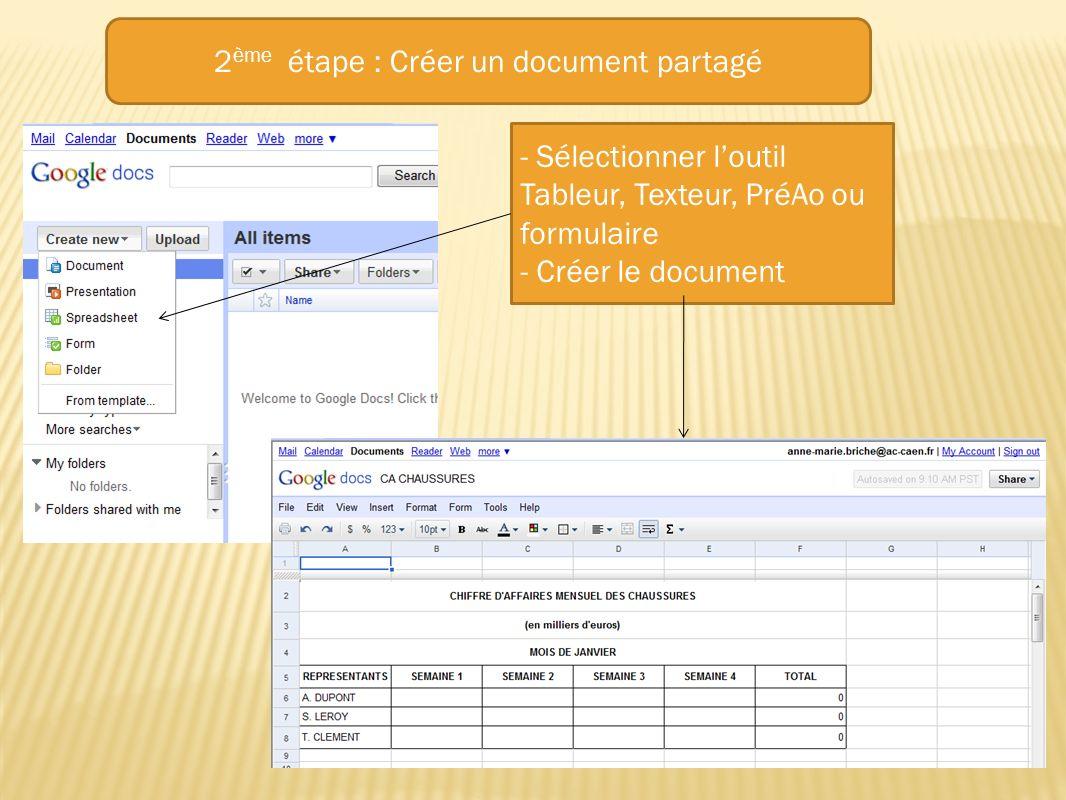 2ème étape : Créer un document partagé