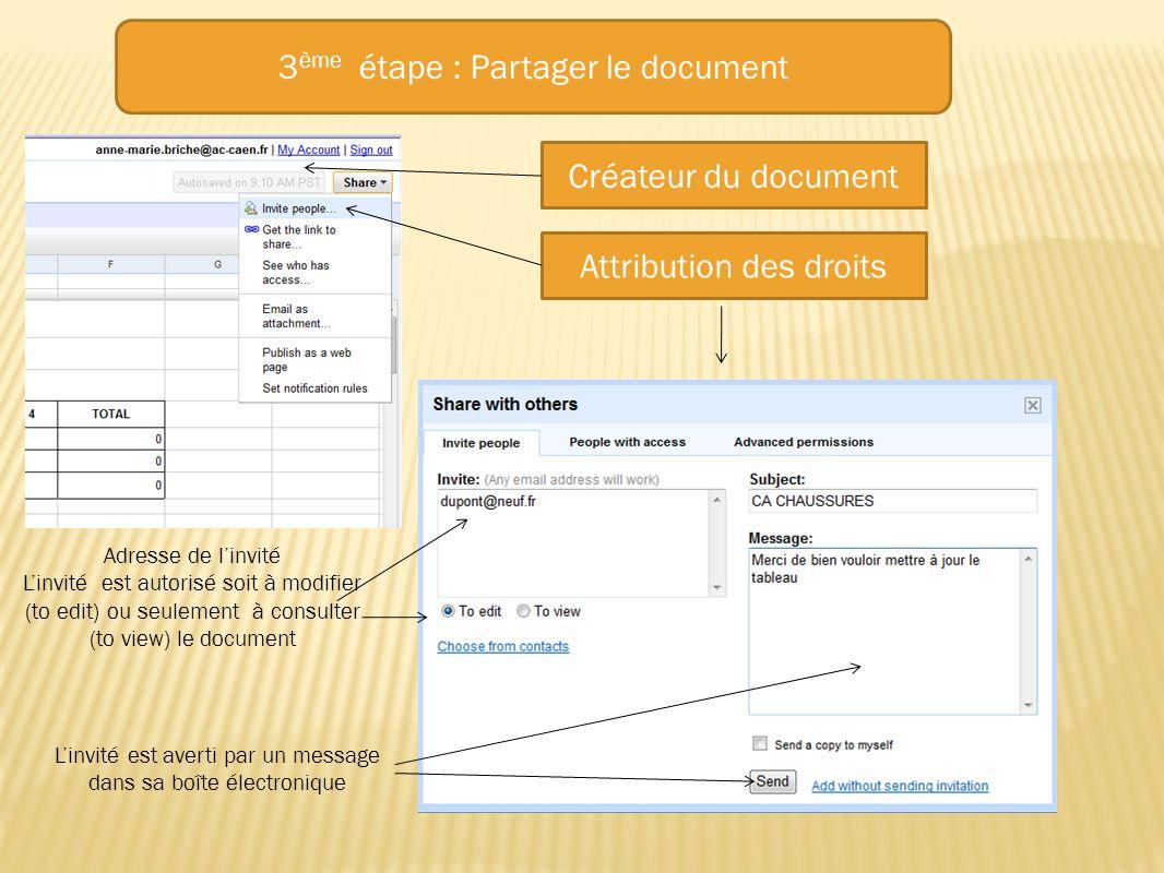 3ème étape : Partager le document