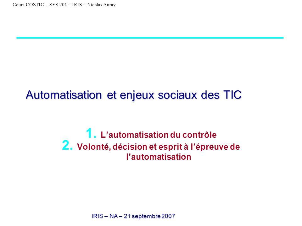 Automatisation et enjeux sociaux des TIC