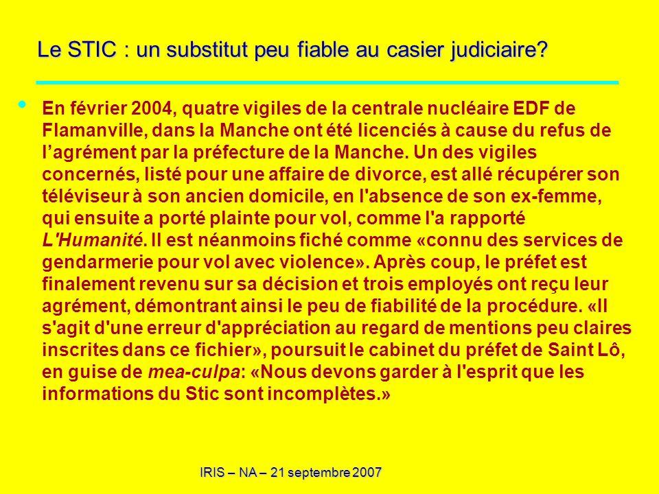 Le STIC : un substitut peu fiable au casier judiciaire
