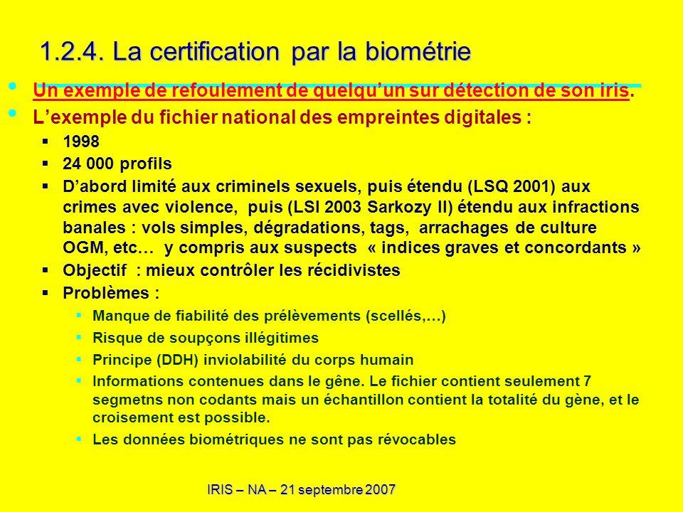 1.2.4. La certification par la biométrie