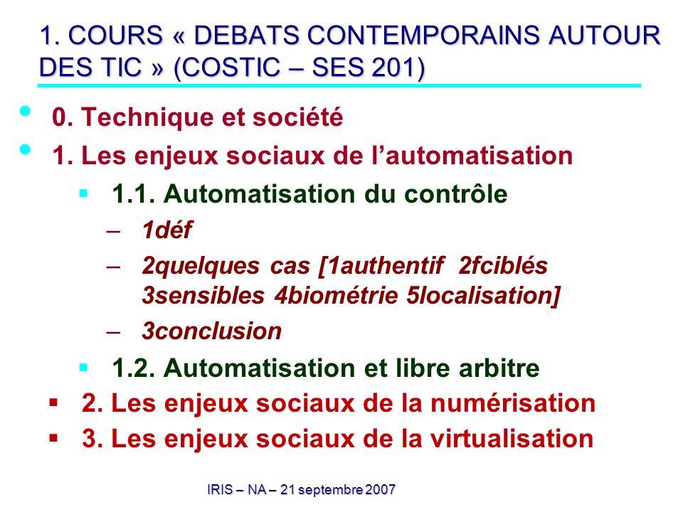 1. COURS « DEBATS CONTEMPORAINS AUTOUR DES TIC » (COSTIC – SES 201)