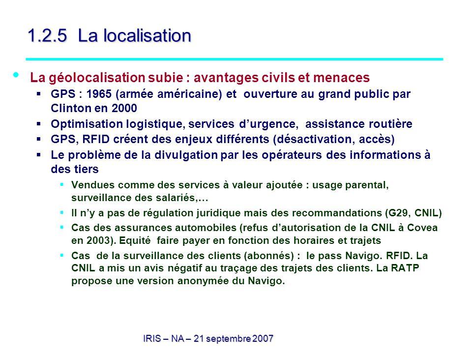 1.2.5 La localisation La géolocalisation subie : avantages civils et menaces.