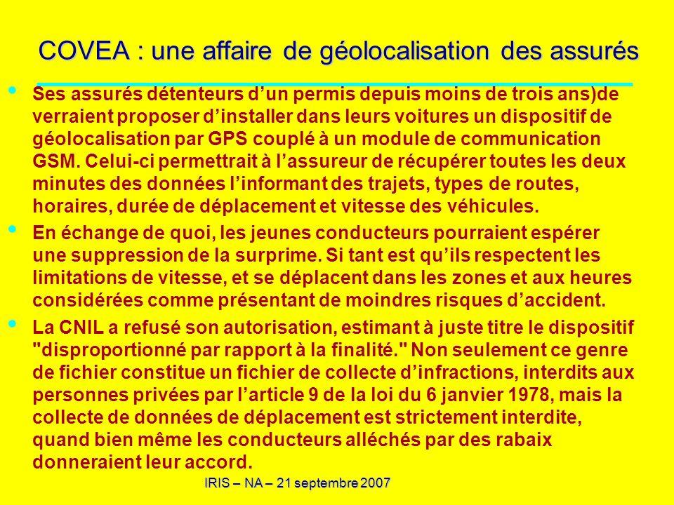 COVEA : une affaire de géolocalisation des assurés