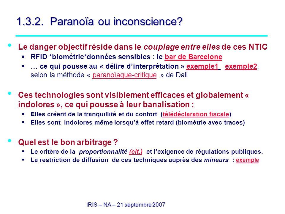 1.3.2. Paranoïa ou inconscience