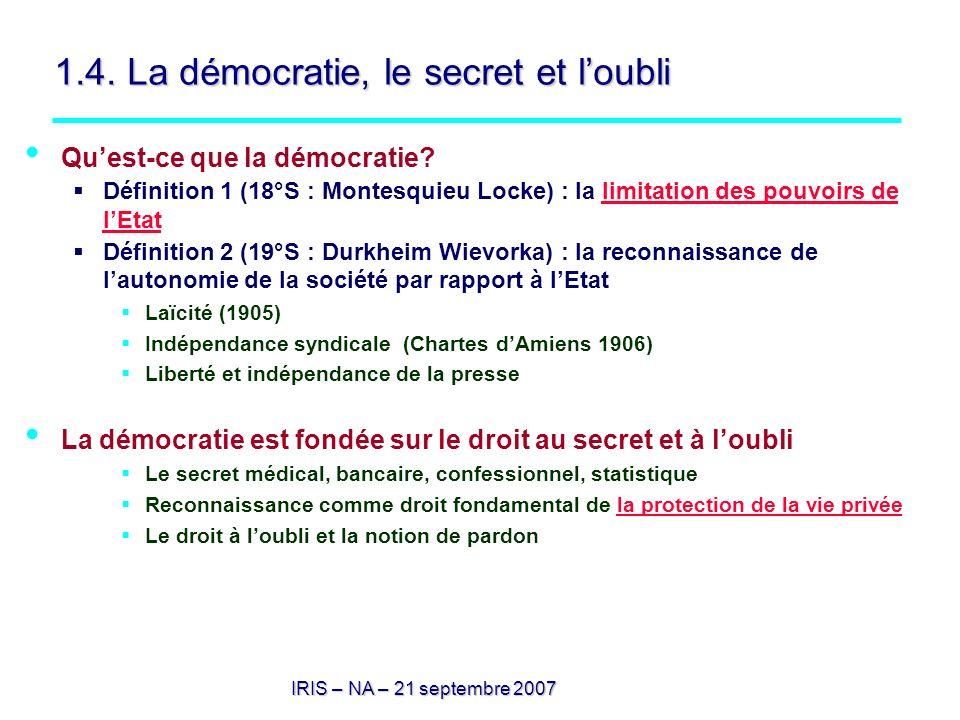 1.4. La démocratie, le secret et l'oubli