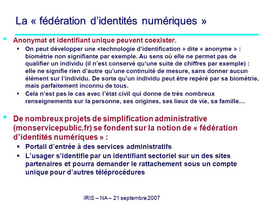 La « fédération d'identités numériques »