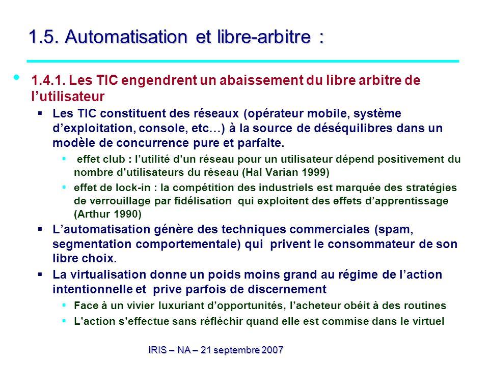 1.5. Automatisation et libre-arbitre :