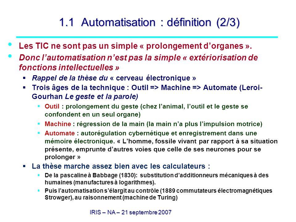 1.1 Automatisation : définition (2/3)