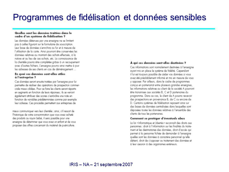 Programmes de fidélisation et données sensibles