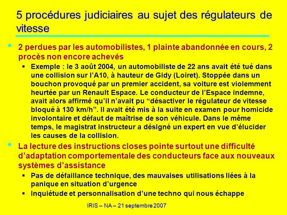 5 procédures judiciaires au sujet des régulateurs de vitesse