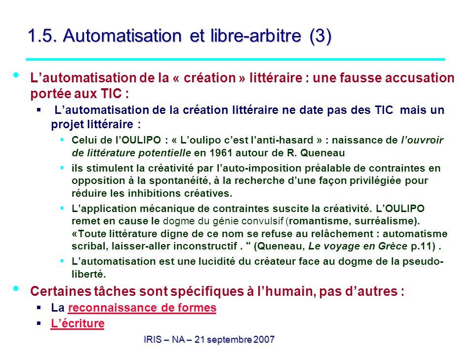 1.5. Automatisation et libre-arbitre (3)