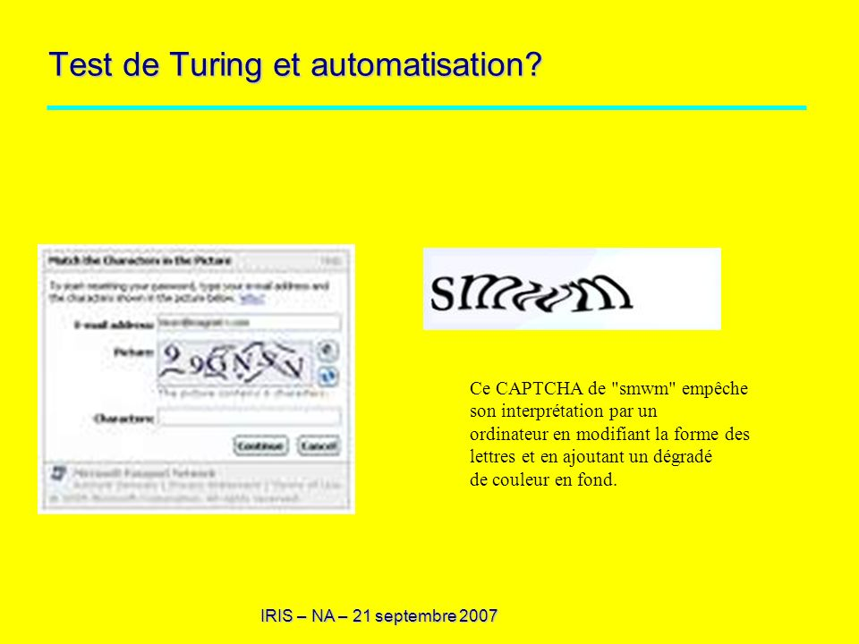 Test de Turing et automatisation