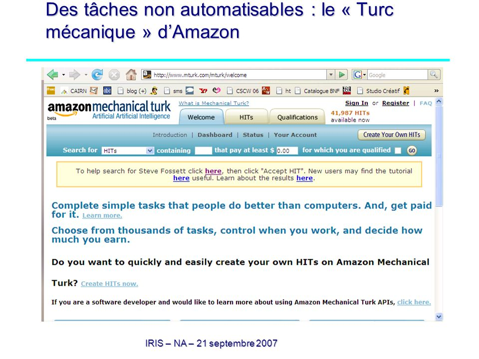 Des tâches non automatisables : le « Turc mécanique » d'Amazon