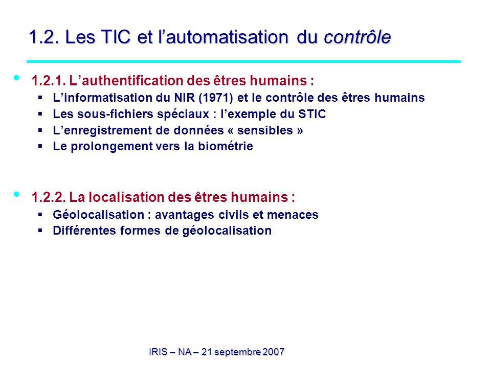 1.2. Les TIC et l'automatisation du contrôle