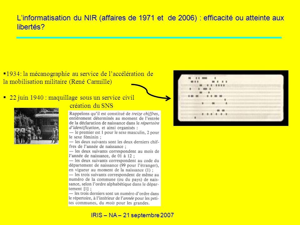 L'informatisation du NIR (affaires de 1971 et de 2006) : efficacité ou atteinte aux libertés
