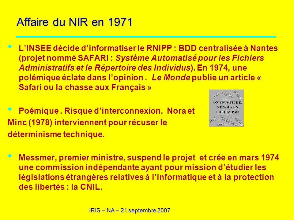 Affaire du NIR en 1971