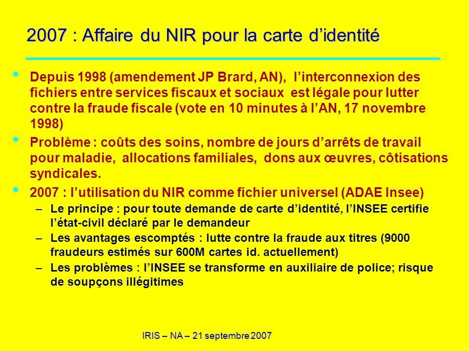 2007 : Affaire du NIR pour la carte d'identité