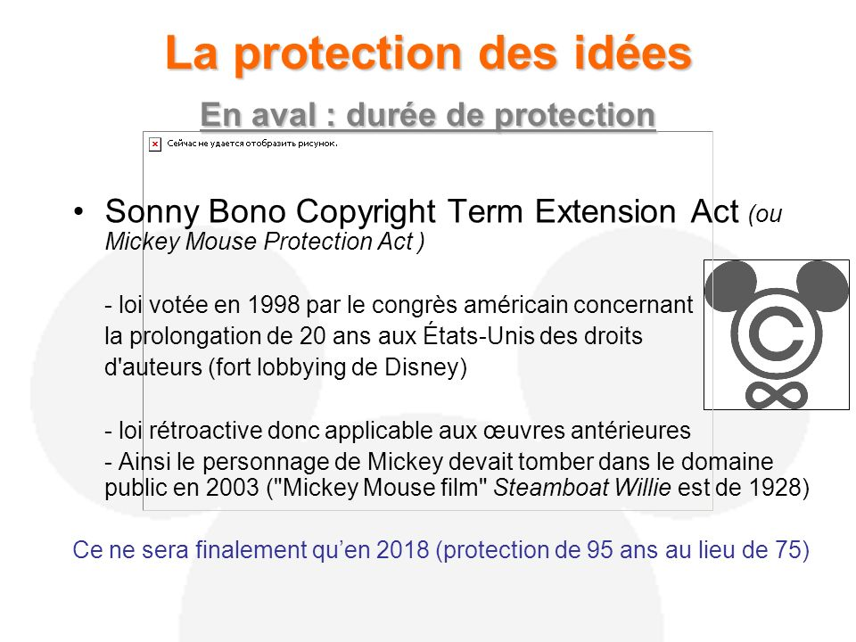 La protection des idées En aval : durée de protection