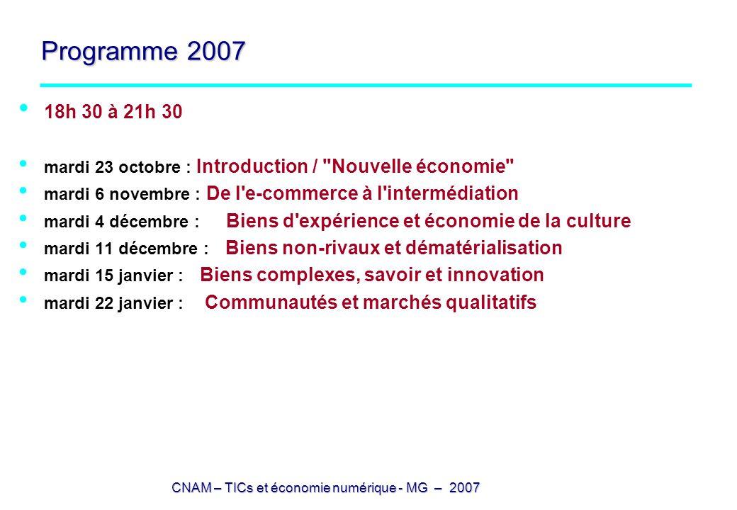 Programme 2007 18h 30 à 21h 30. mardi 23 octobre : Introduction / Nouvelle économie mardi 6 novembre : De l e-commerce à l intermédiation.