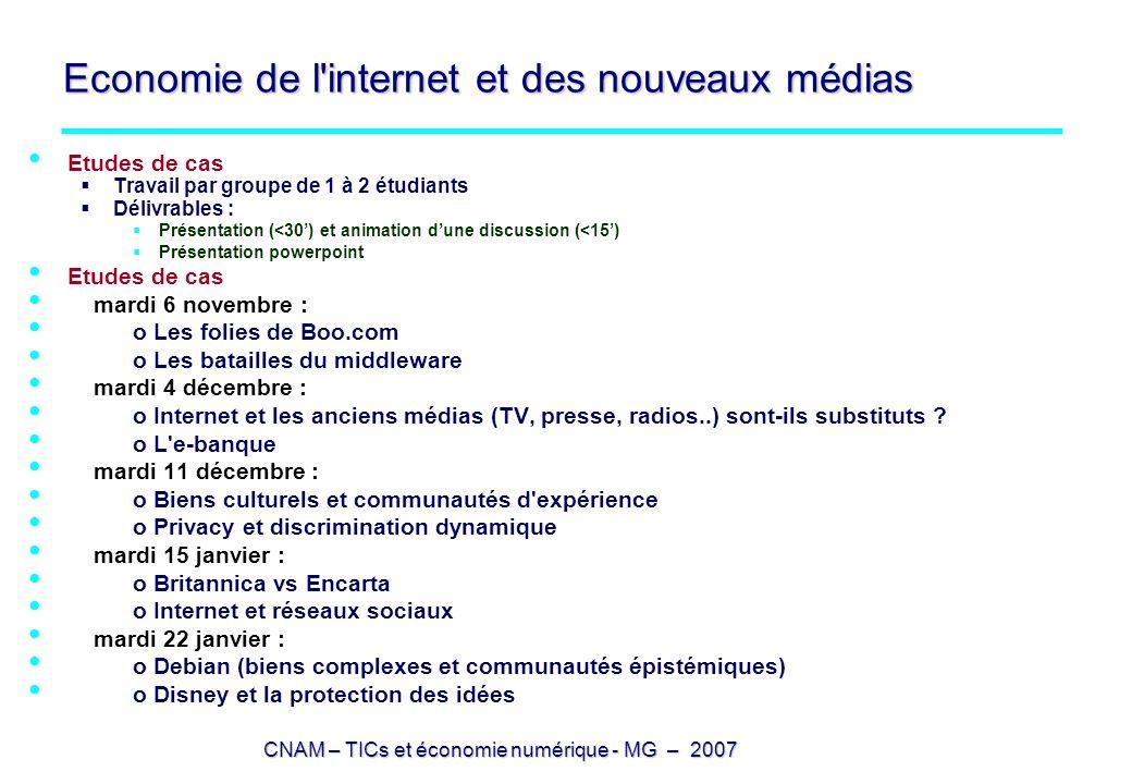 Economie de l internet et des nouveaux médias