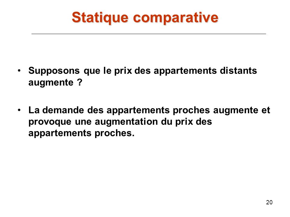 Statique comparative Supposons que le prix des appartements distants augmente