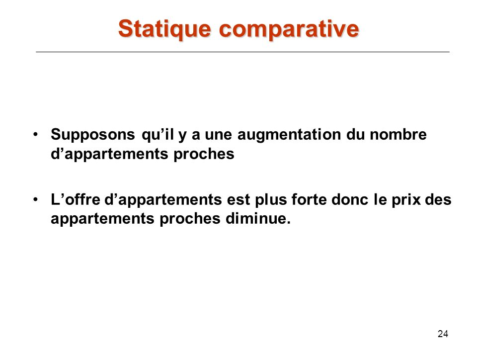 Statique comparative Supposons qu'il y a une augmentation du nombre d'appartements proches.