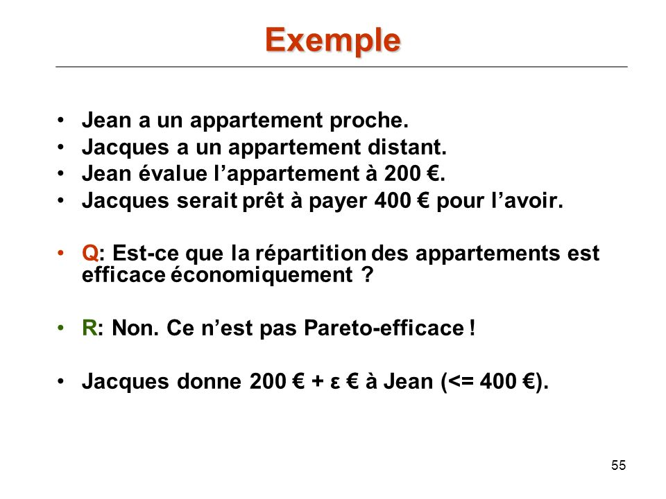 Exemple Jean a un appartement proche.