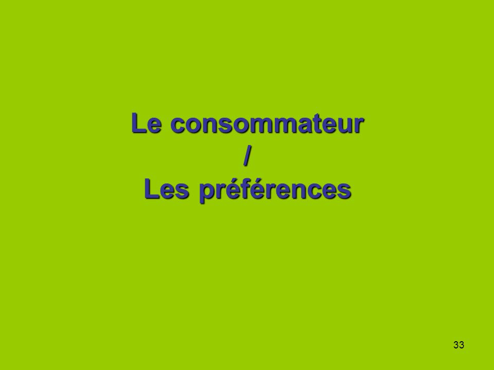 Le consommateur / Les préférences
