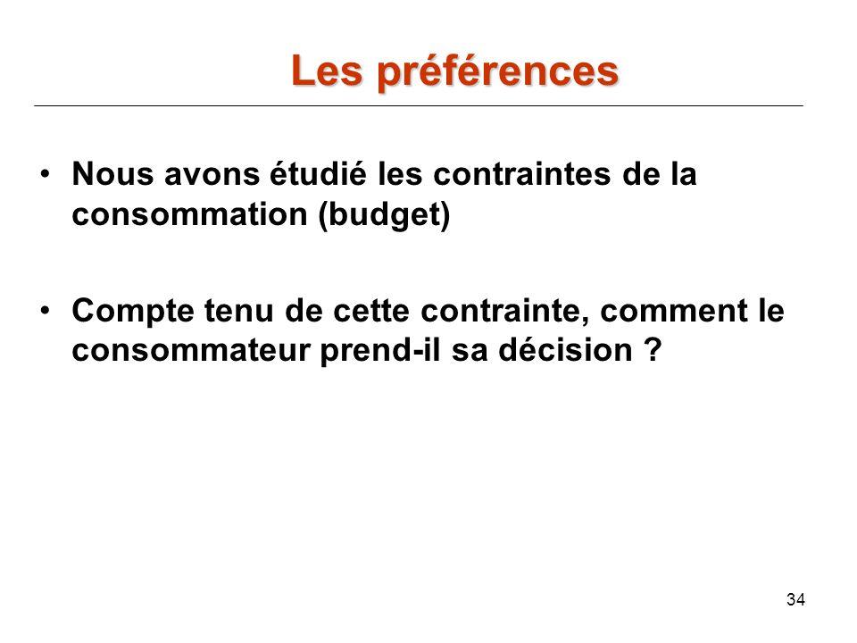 Les préférences Nous avons étudié les contraintes de la consommation (budget)