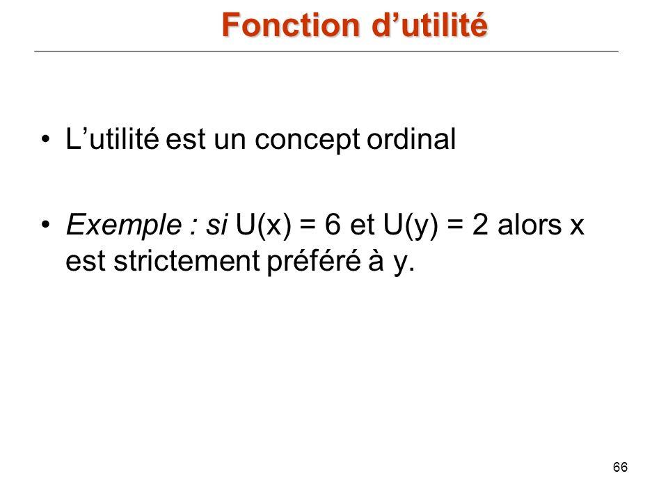 Fonction d'utilité L'utilité est un concept ordinal