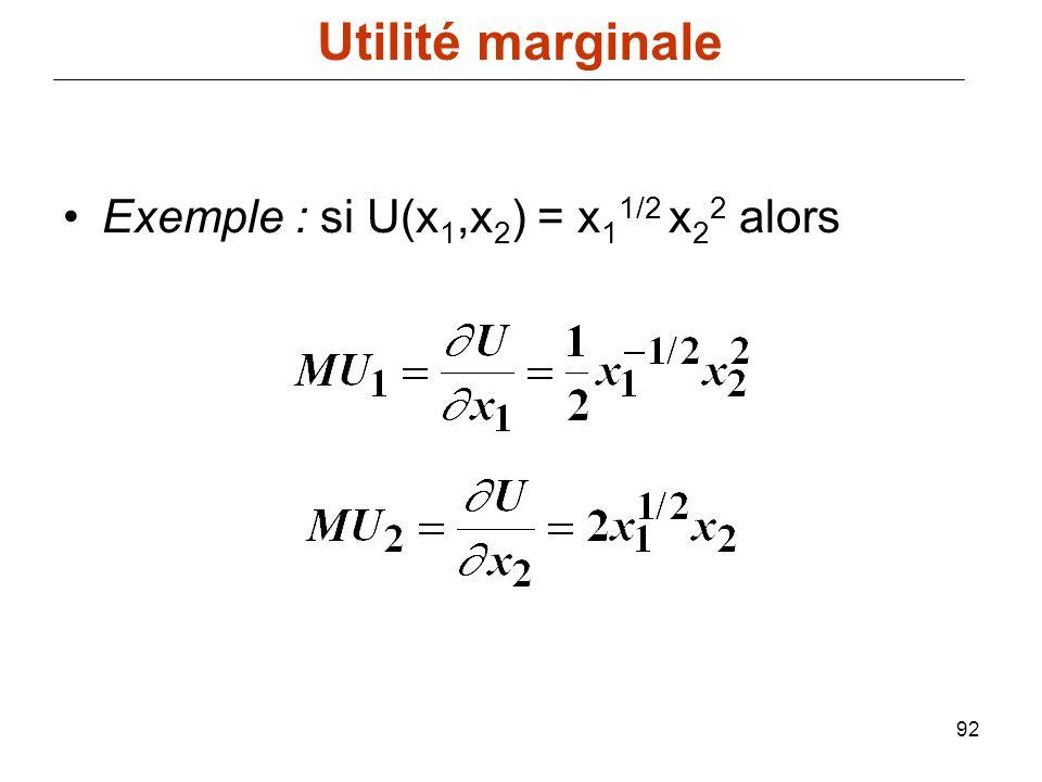 Utilité marginale Exemple : si U(x1,x2) = x11/2 x22 alors
