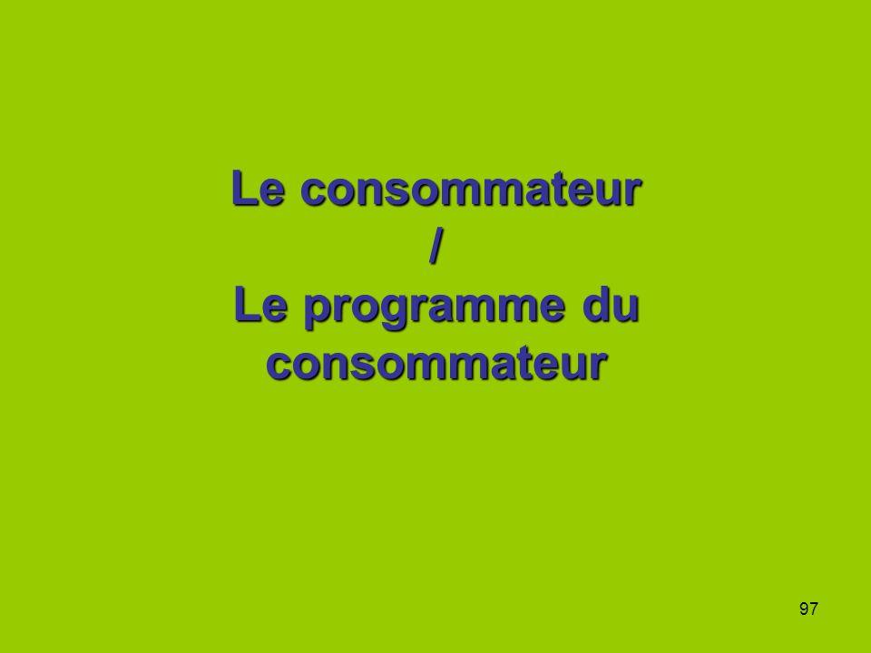 Le consommateur / Le programme du consommateur