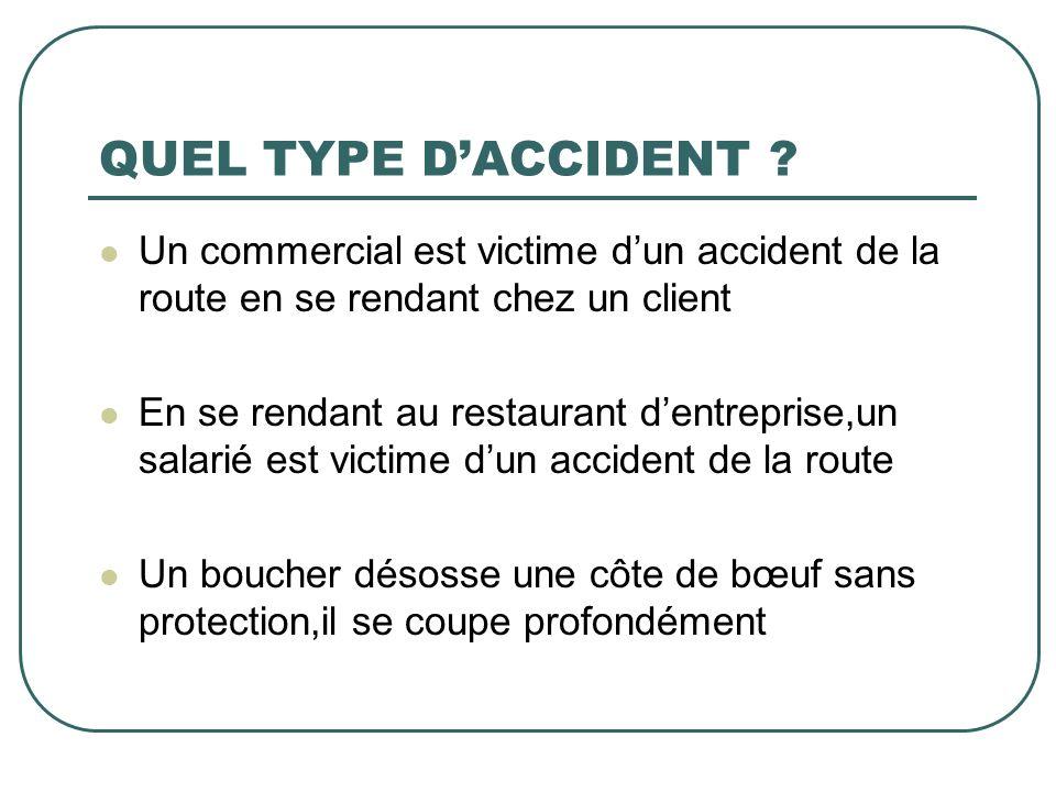 QUEL TYPE D'ACCIDENT Un commercial est victime d'un accident de la route en se rendant chez un client.