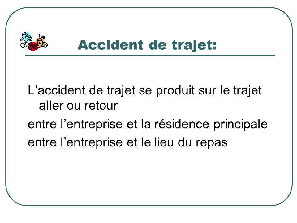Accident de trajet: L'accident de trajet se produit sur le trajet aller ou retour. entre l'entreprise et la résidence principale.