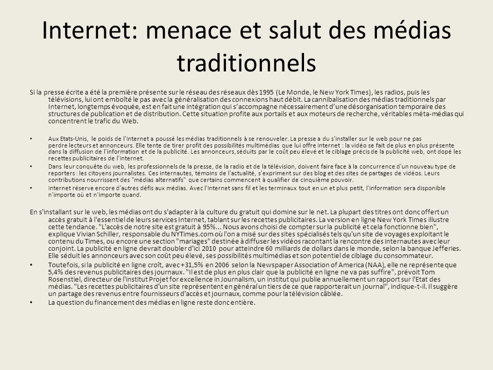 Internet: menace et salut des médias traditionnels