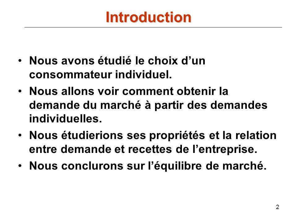Introduction Nous avons étudié le choix d'un consommateur individuel.