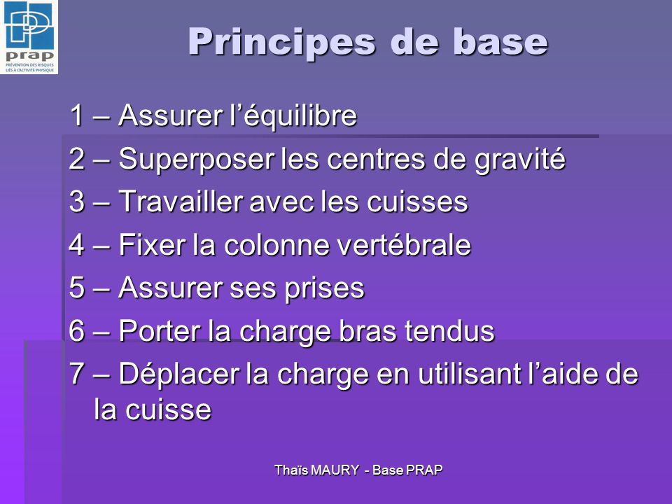 Principes de base 1 – Assurer l'équilibre