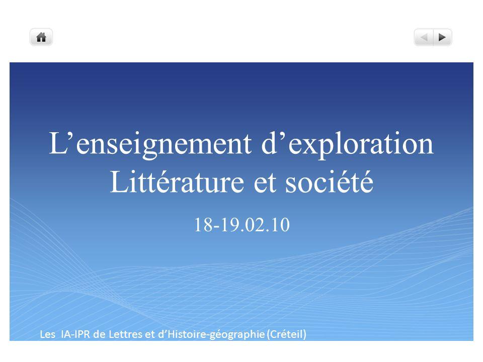 L'enseignement d'exploration Littérature et société