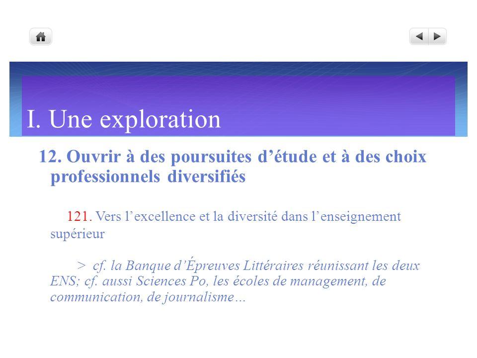 I. Une exploration 12. Ouvrir à des poursuites d'étude et à des choix professionnels diversifiés.