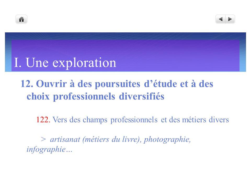 I. Une exploration12. Ouvrir à des poursuites d'étude et à des choix professionnels diversifiés.