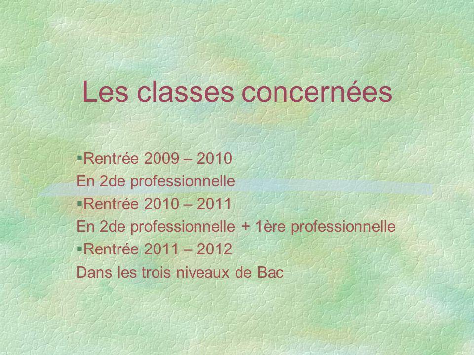Les classes concernées