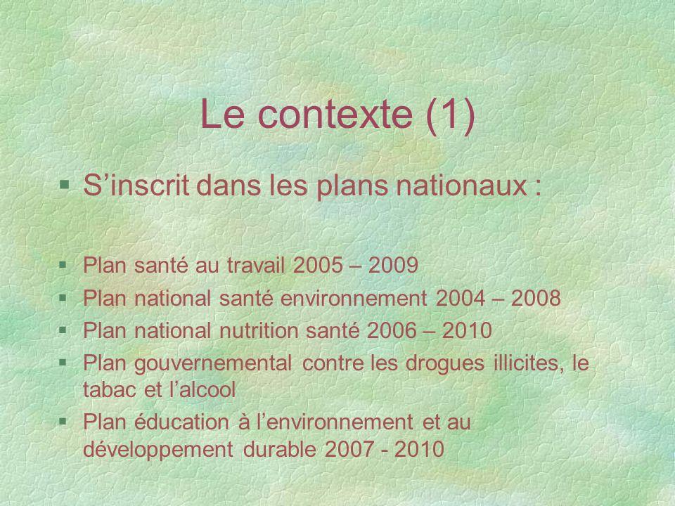 Le contexte (1) S'inscrit dans les plans nationaux :