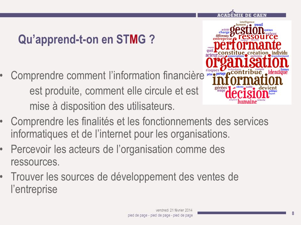 Qu'apprend-t-on en STMG
