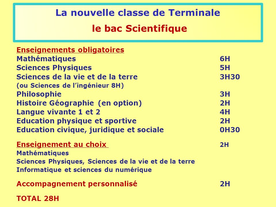 La nouvelle classe de Terminale le bac Scientifique